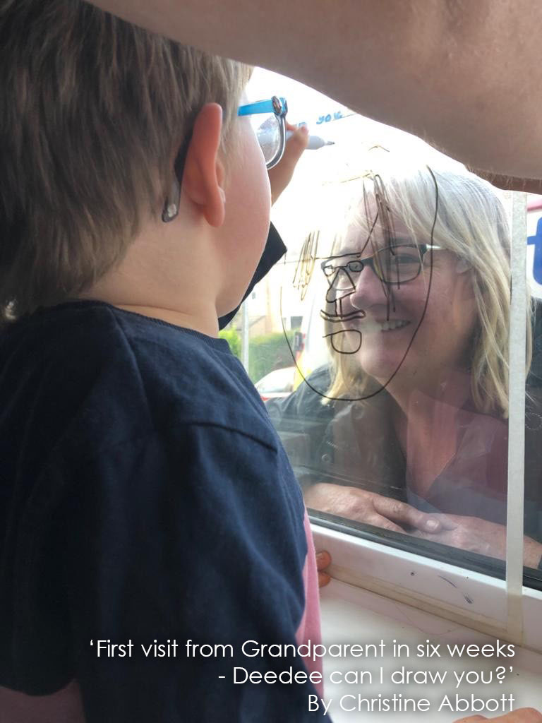 First visit from Grandparent in six weeks_at the window_Deedee, can I draw you_Christine Abbott